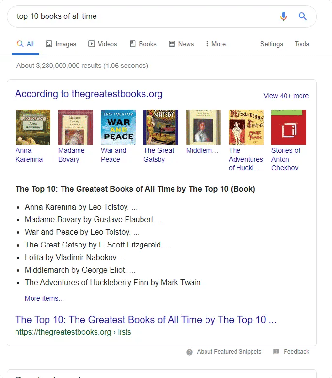 Пример за google featured snippet
