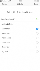 in app browser call to action options